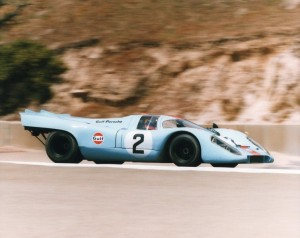 Four Porsche 917Ks will take to the track at this year's Rolex Monterey Historic Automobile Races.  Three of those are re-uniting from the Gulf Wyer Team, including this one (shown) entered and driven by Chris MacAllister (Indianapolis, Ind.).  Credit RolexMHAR/Bob Dunsmore