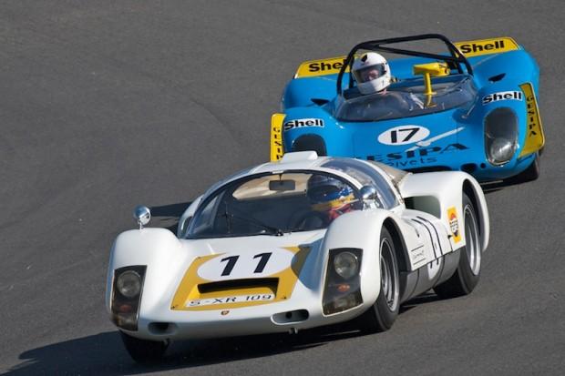 Jeff Zwart 1966 Porsche 906 leads Anatoly Arutunoff in his 1969 Porsche 908