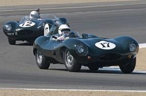 Gary Pearson's 1955 Jaguar D-Type leads the 1954 Jaguar D-Type of Terry Larson