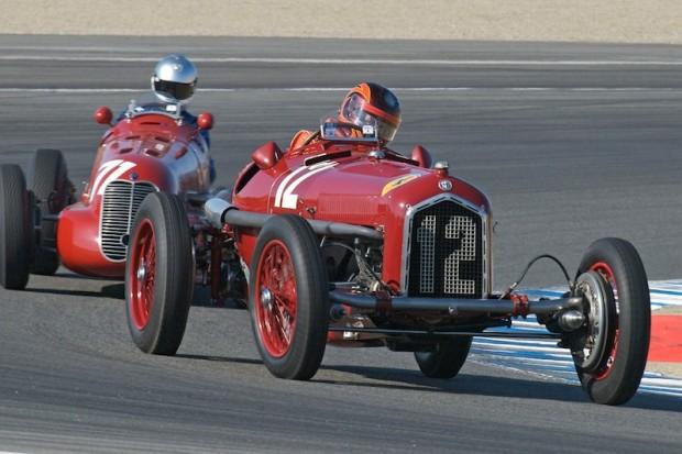 Jon Shirley's 1932 Alfa Romeo P3 leads Mark Gilllies' 1939 Maserati 4CL in turn one