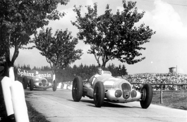 Masaryk Grand Prix near Brno, September 26, 1937. Manfred von Brauchitsch, who finished in second place, followed by Richard Seaman, who finished in fourth place, both in a Mercedes-Benz W 125.