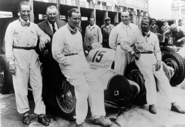 German Grand Prix, July 24, 1938. The Mercedes-Benz crew, from left: Manfred von Brauchitsch, racing director Alfred Neubauer, Richard Seaman, Hermann Lang and Rudolf Caracciola.