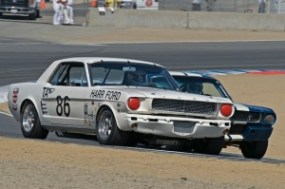 Stephen Sorenson's 1966 Shelby Notchback leads len Gobel's Shelby GT350 through Turn 5