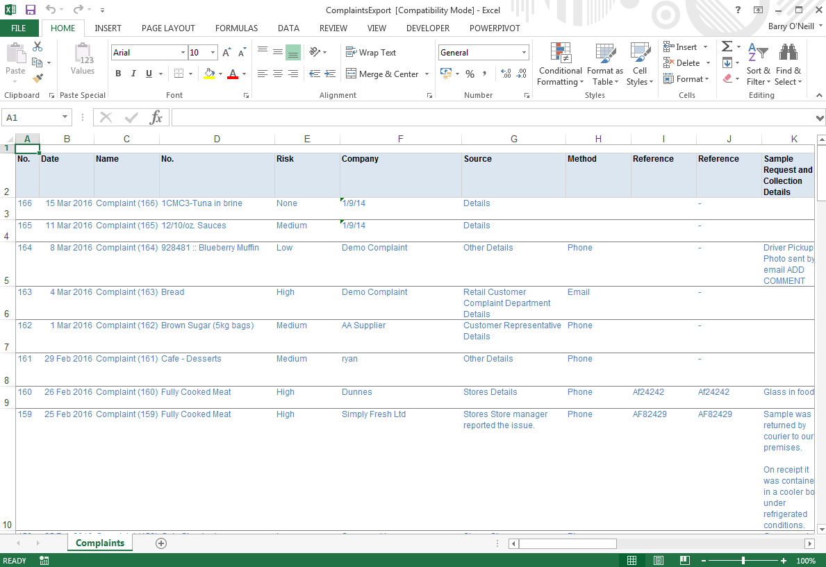 Export To Excel Safefood 360 Help Center