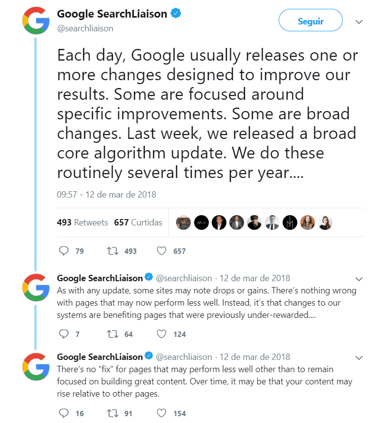 Google often states that its focus is very clear: quality content.