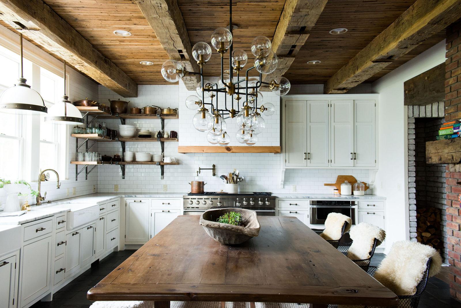 Farmhouse Kitchen with Rustic Decor & Sputnik Chandelier ... on Rustic Farmhouse Kitchen Ideas  id=80633