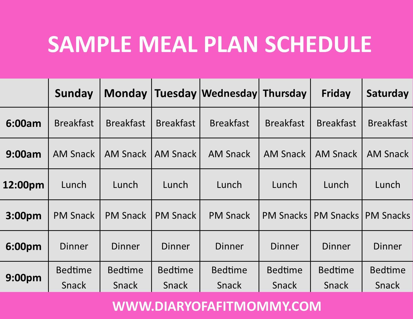Sample Eating Clean Schedule For Beginners