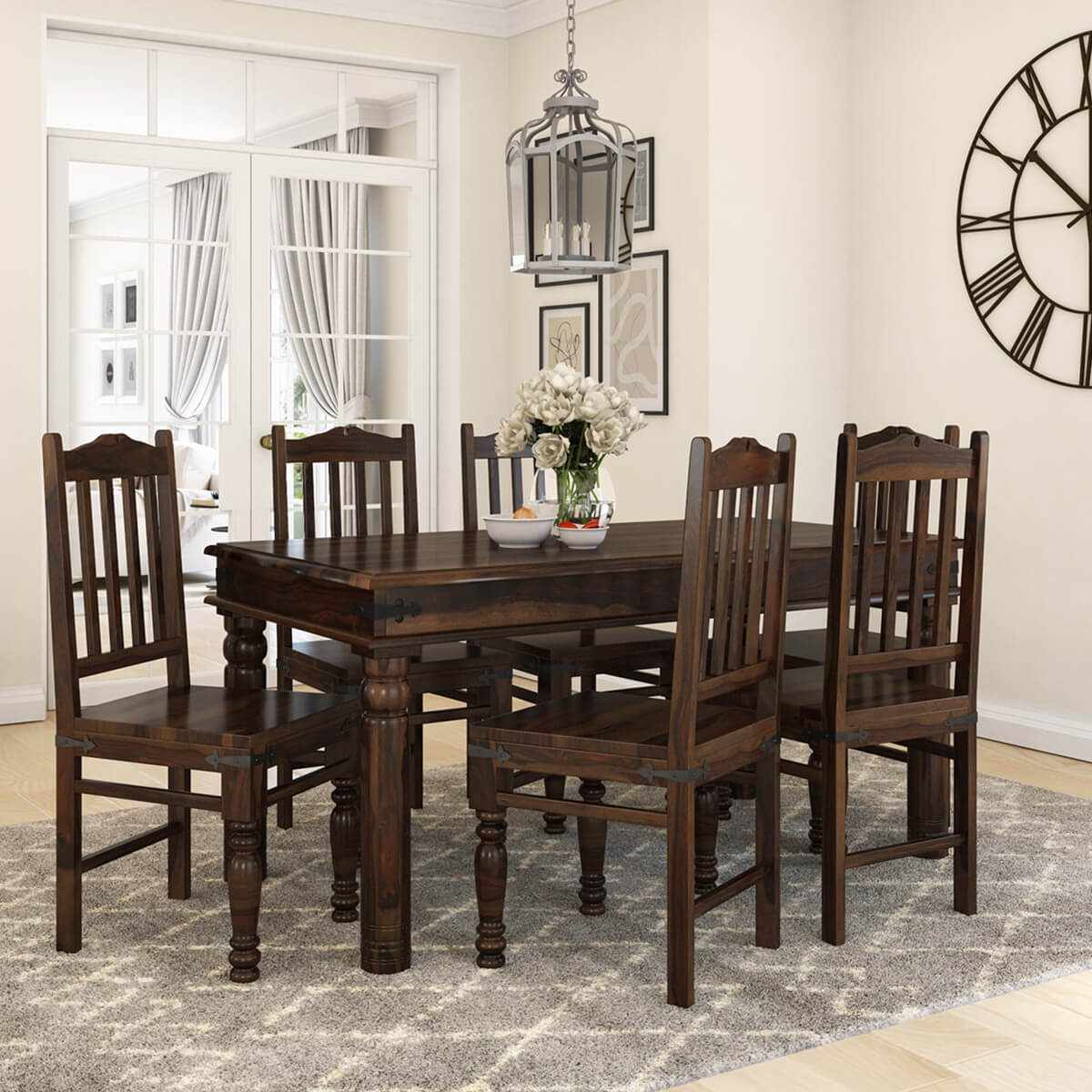 oklahoma farmhouse traditional 5pc solid wood country on solid wood dining table id=55243
