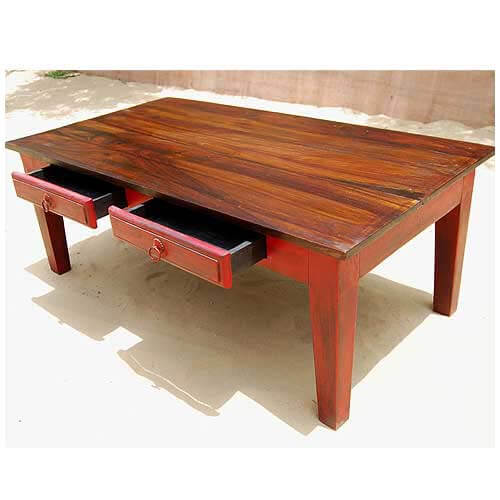 mequon rustic handcrafted 2 drawer solid wood coffee table