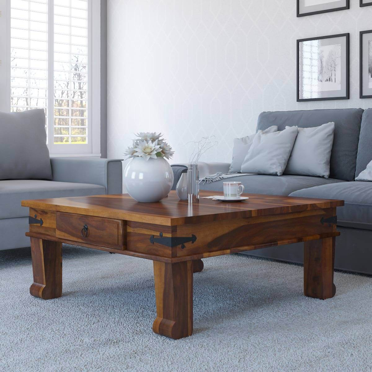 Terrarum Solid Wood Square Coffee Table With Drawer