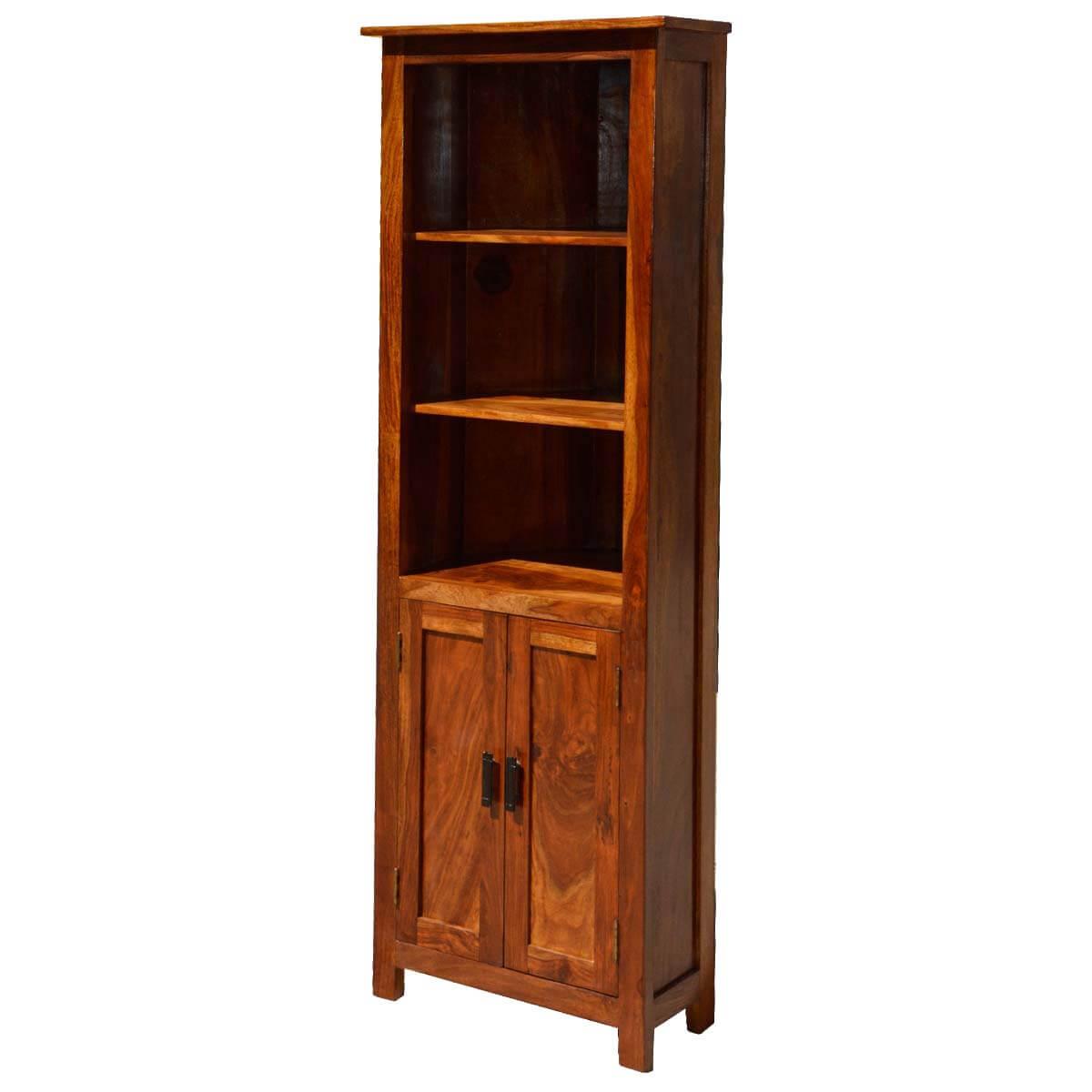 Tulare 3 Open Shelf Rustic Solid Wood Corner Bookcase With Doors
