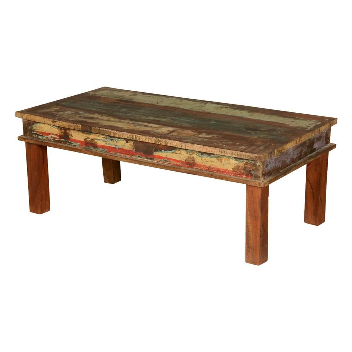 appalachian reclaimed wood multi color coffee table