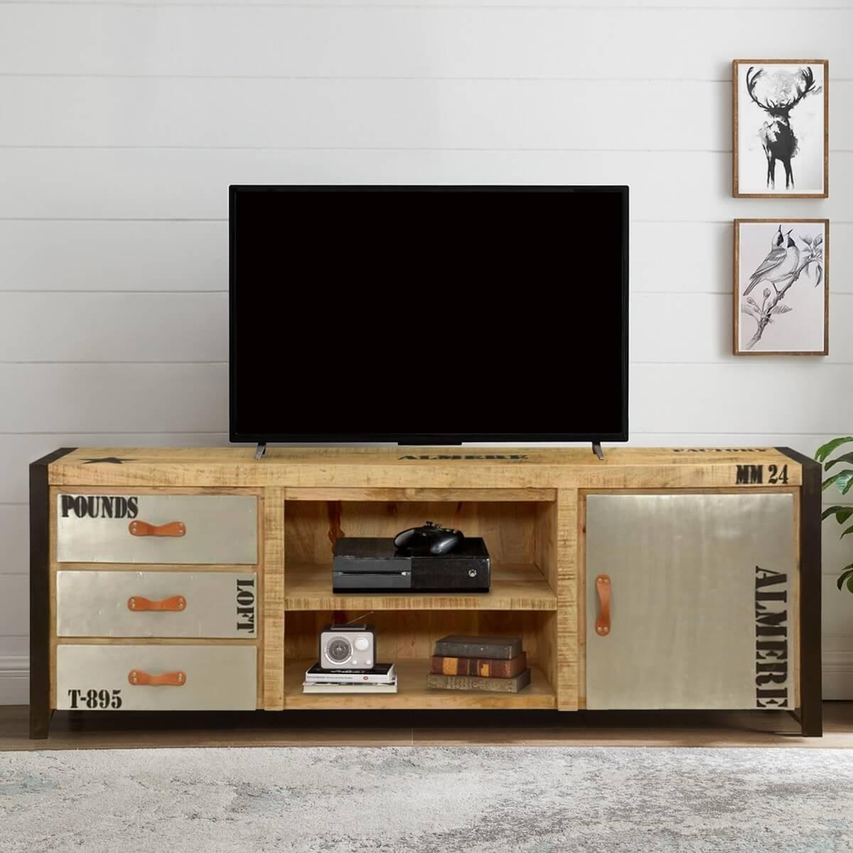 Dai un'occhiata ai nostri mobili e oggetti decorativi e fai i pieno di ispirazione! Industrial Natural Mango Wood Iron Tv Console Media Cabinet