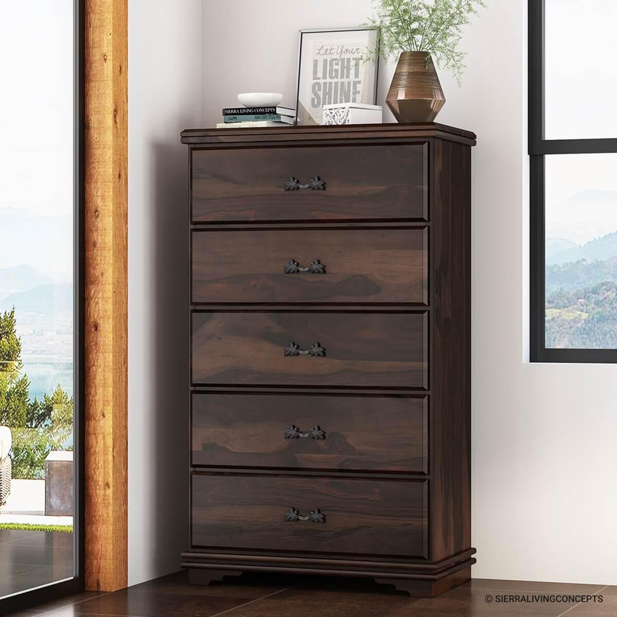 hartsville modern pioneer solid wood 5 drawer tall dresser chest