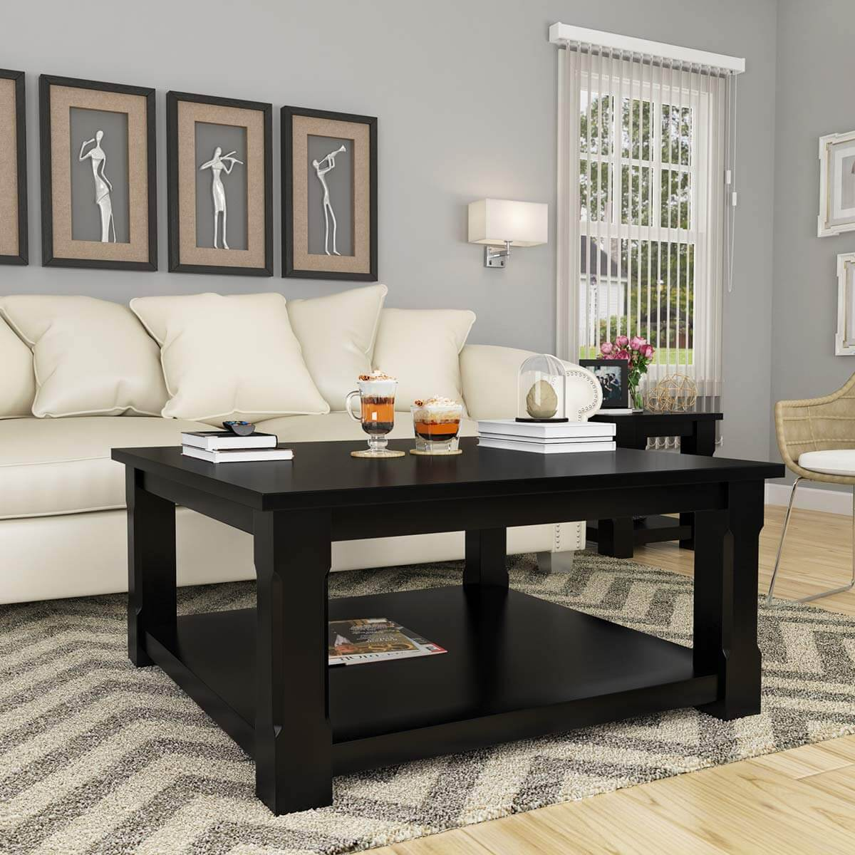 brimson contemporary style solid wood 2 tier square coffee table