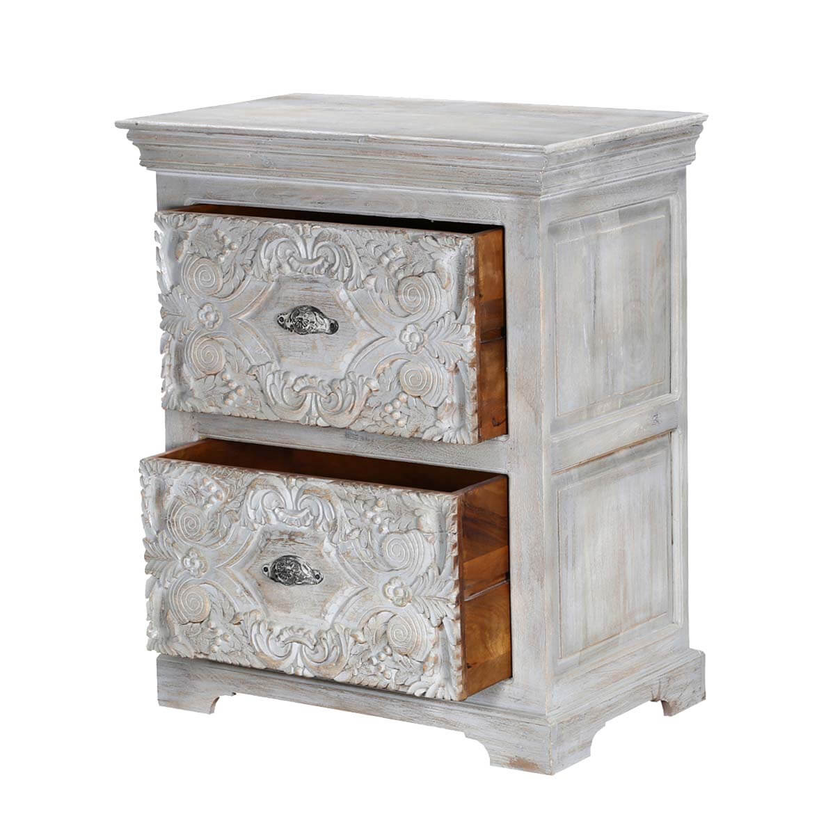 Snow Flower Mango Wood 2 Drawer Hand Carved Nightstand