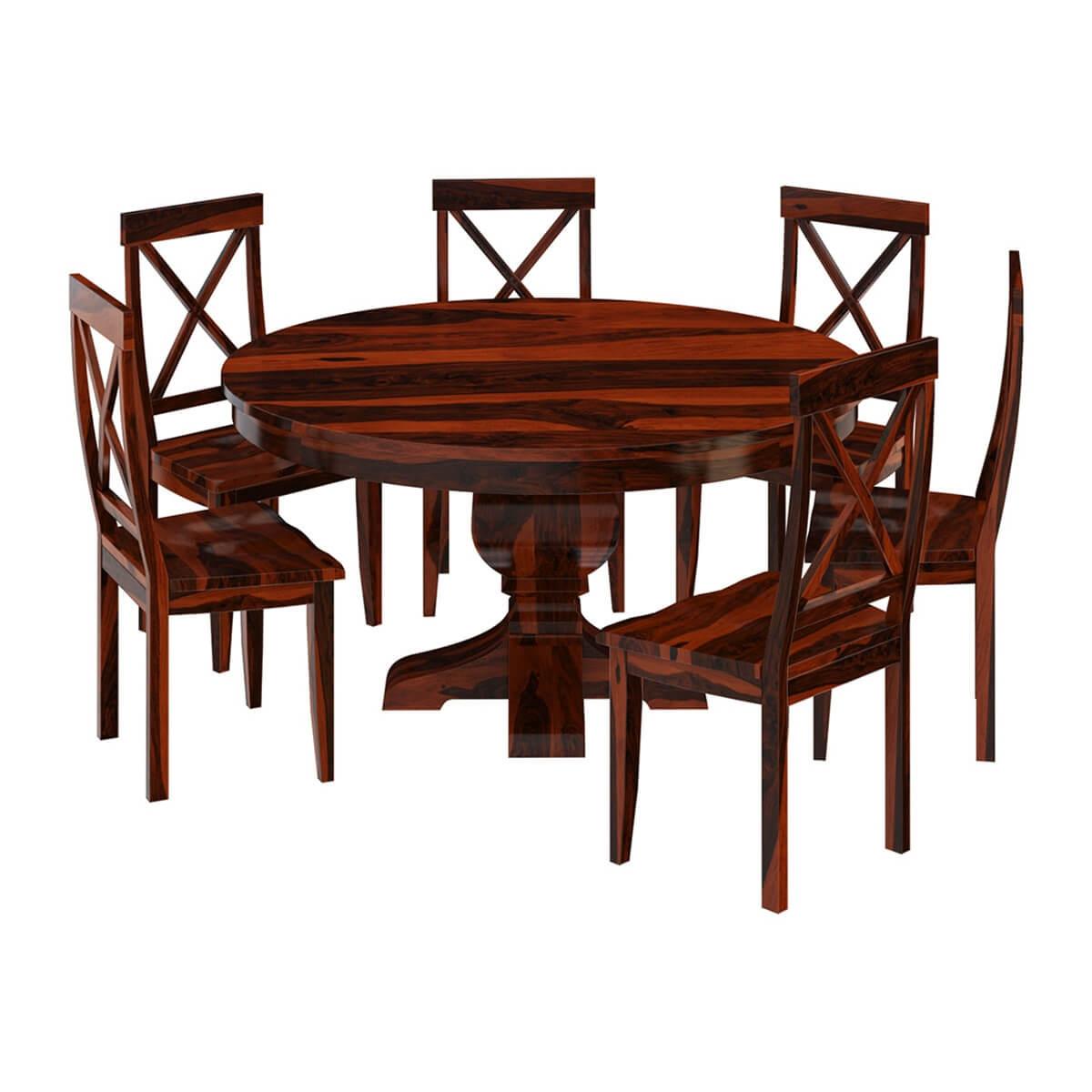 missouri solid wood round pedestal dining table with 6 on solid wood dining table id=34932