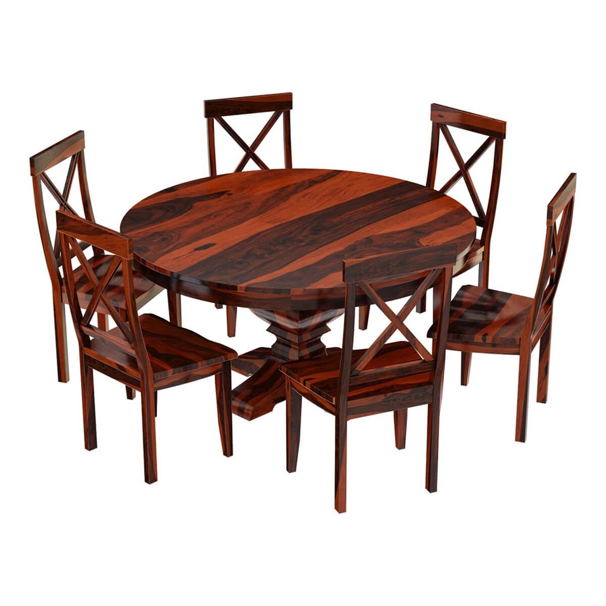 missouri solid wood round pedestal dining table with 6 on solid wood dining table id=68120