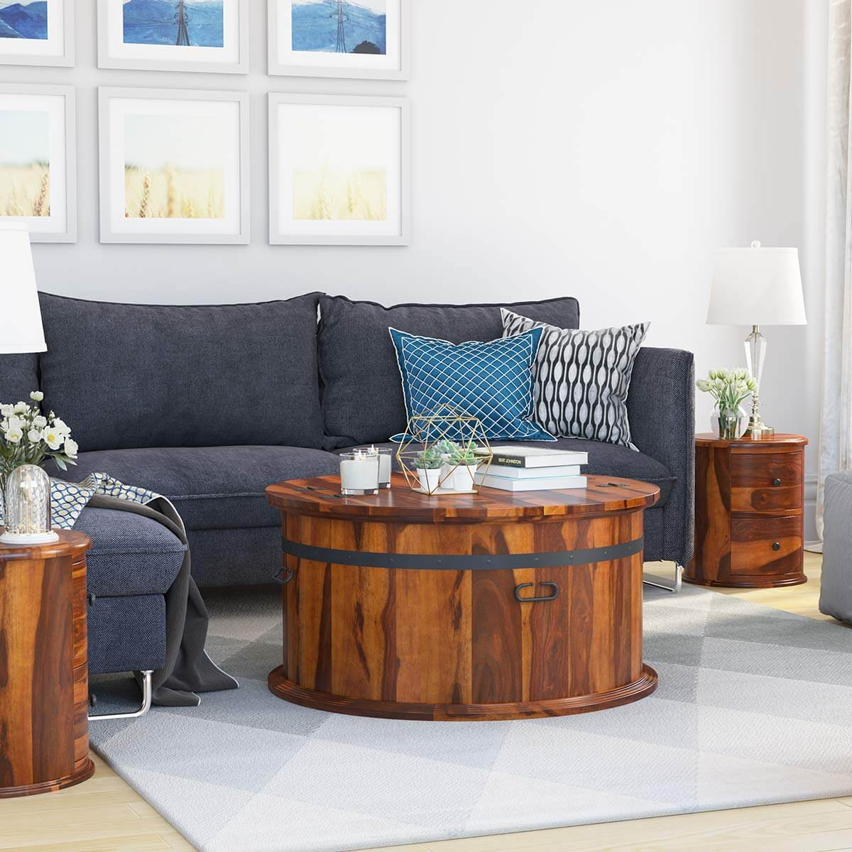 friant rustic solid wood top open storage round coffee table