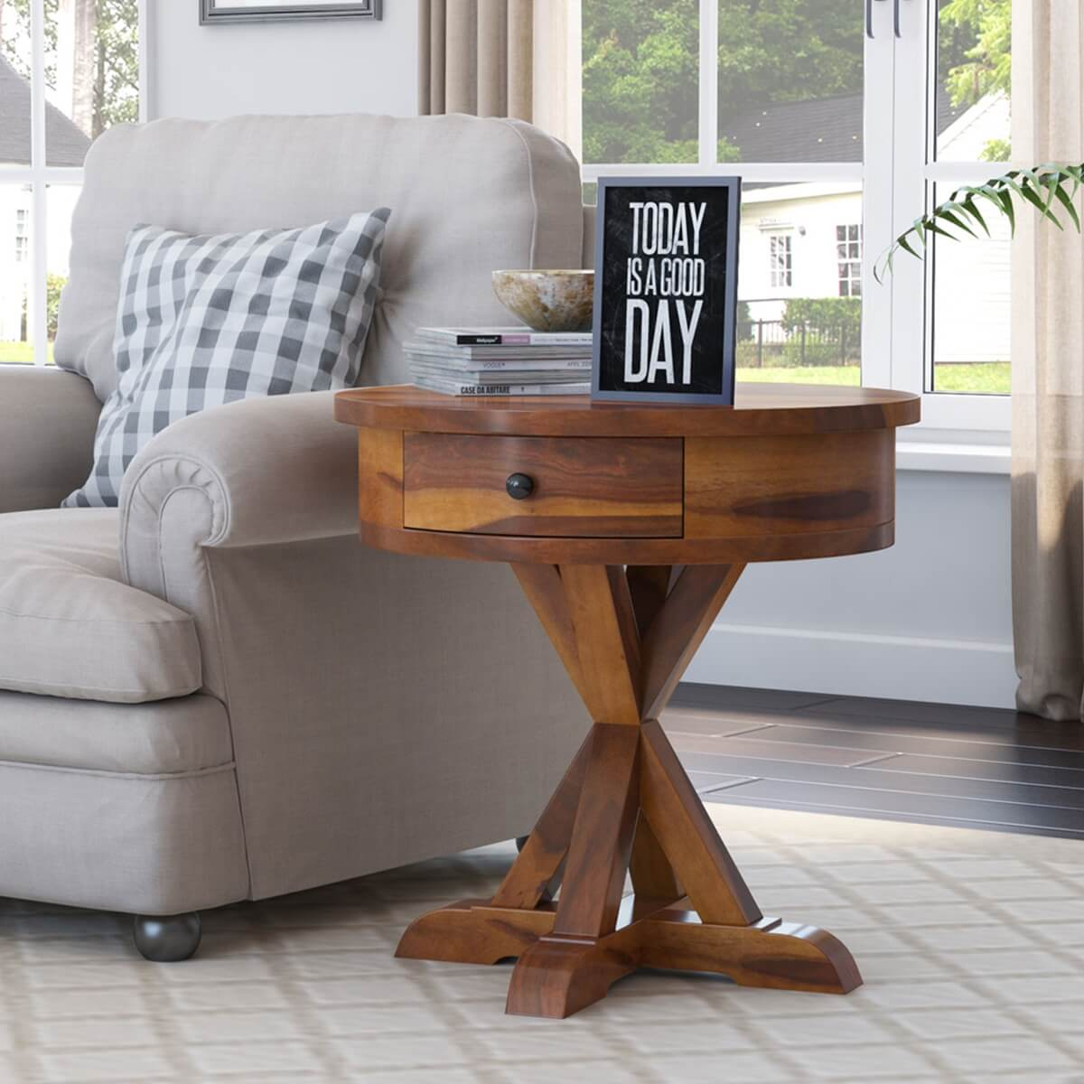 floreo rustic solid wood round end table with drawer