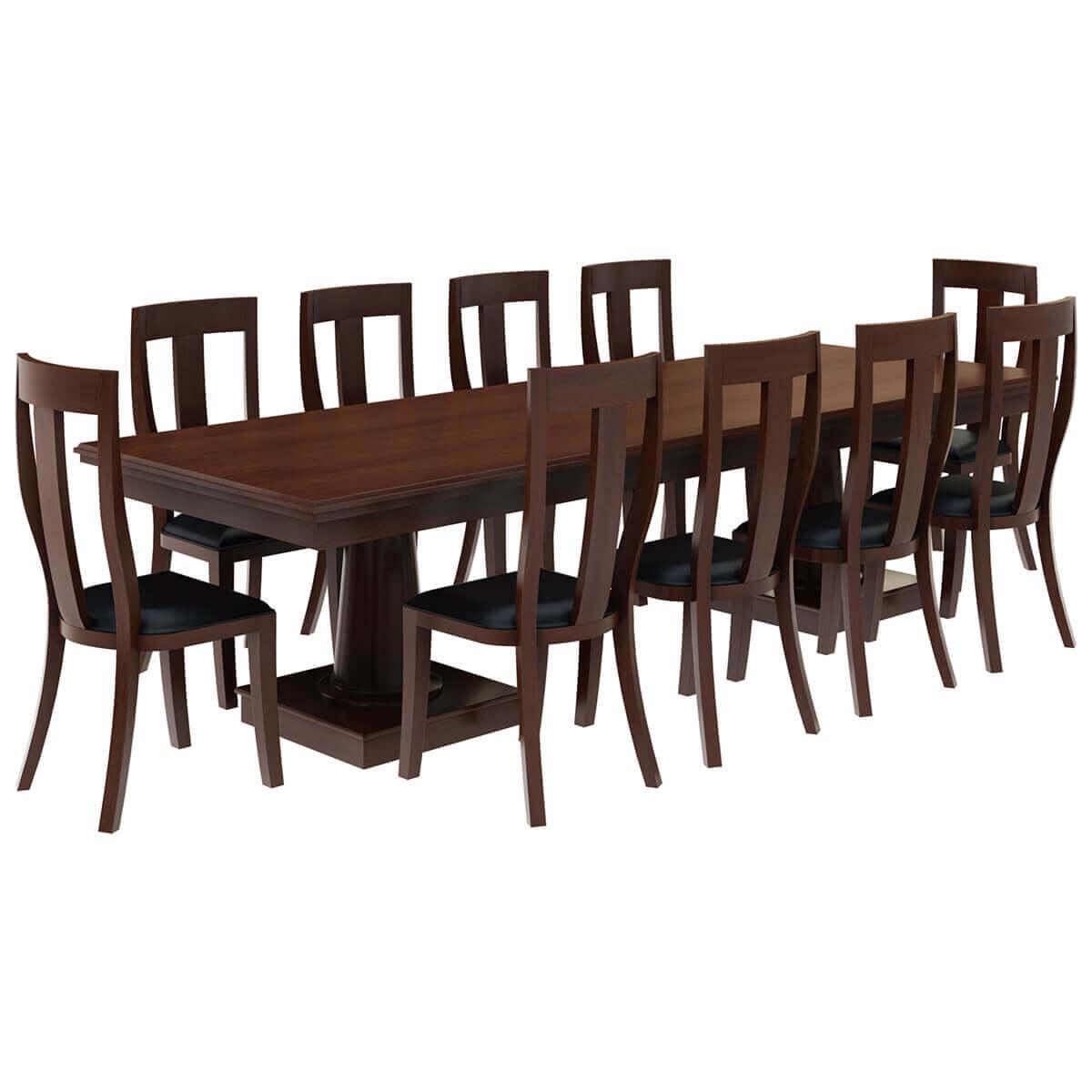 cazenovia solid mahogany wood dining table with 10 chairs set on solid wood dining table id=32845