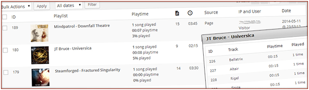 Detailed playlog with info on playtime for each list and track