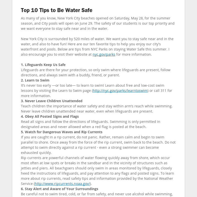 Top 10 Tips to Be Water Safe As many of you know, New York City beaches opened on Saturday, May 28,...