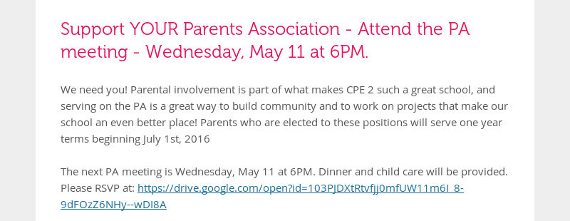 Support YOUR Parents Association - Attend the PA meeting - Wednesday, May 11 at 6PM. We need you!...