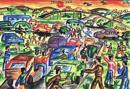 Painting of traffic jam
