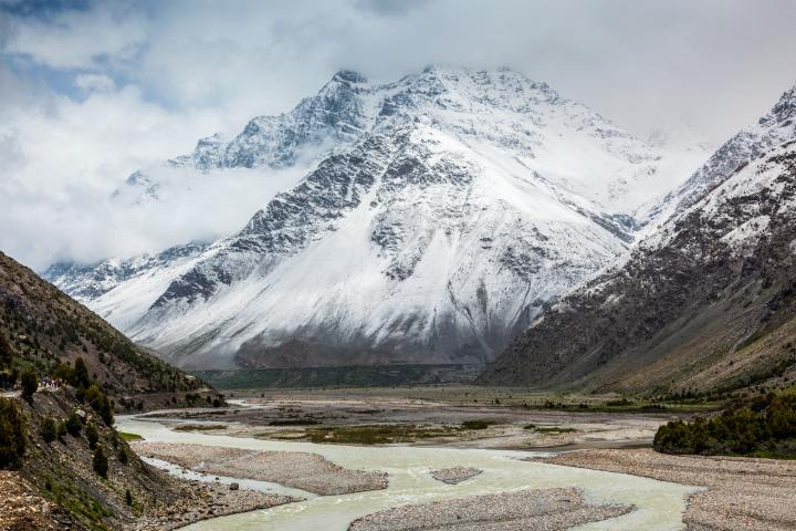 Lahaul valley in Himalayas with snowcappeped mountains. Himachal Pradesh, India