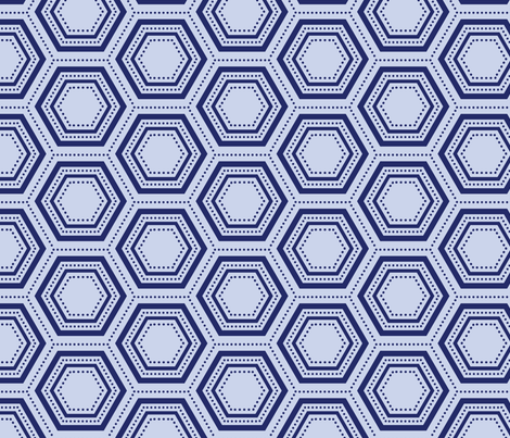 Dotted Hexagon - Blue