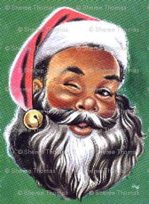 Winking Black Santa Fabric Wanganegresse Spoonflower