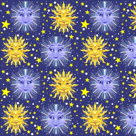 sun moon and stars celestial print fabric - beesocks ...