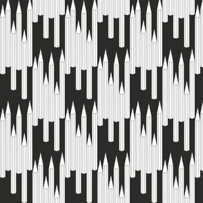 pencils black and white halfdrop