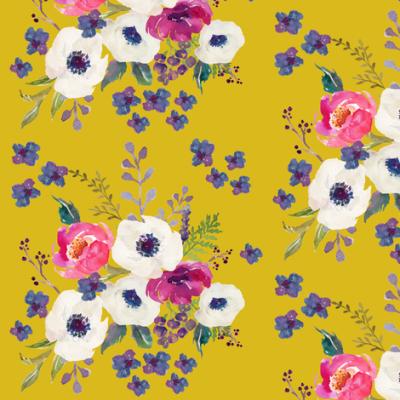 "5.25"" Boho Purple Floral Print - Mustard Color"