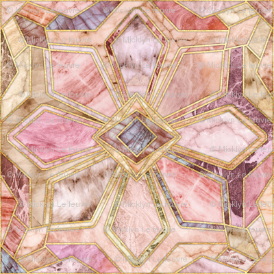 Geometric Gilded Stone Tiles In Blush Pink Peach And