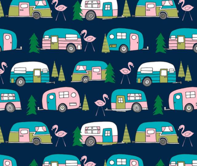Vintage Camper Campervan Fabric Retro Flamingo Design Cute Retro Campervan Fabric Andrea Lauren Pink