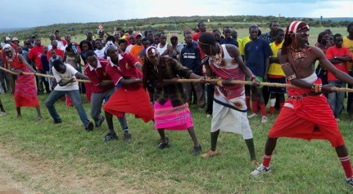 "The Maasai Cricket Warriors competing in the ""Tug-of-Peace"""