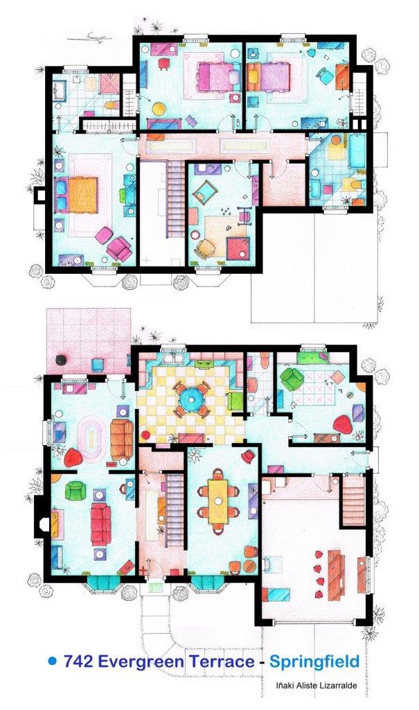 El plano de la casa de los simpsons