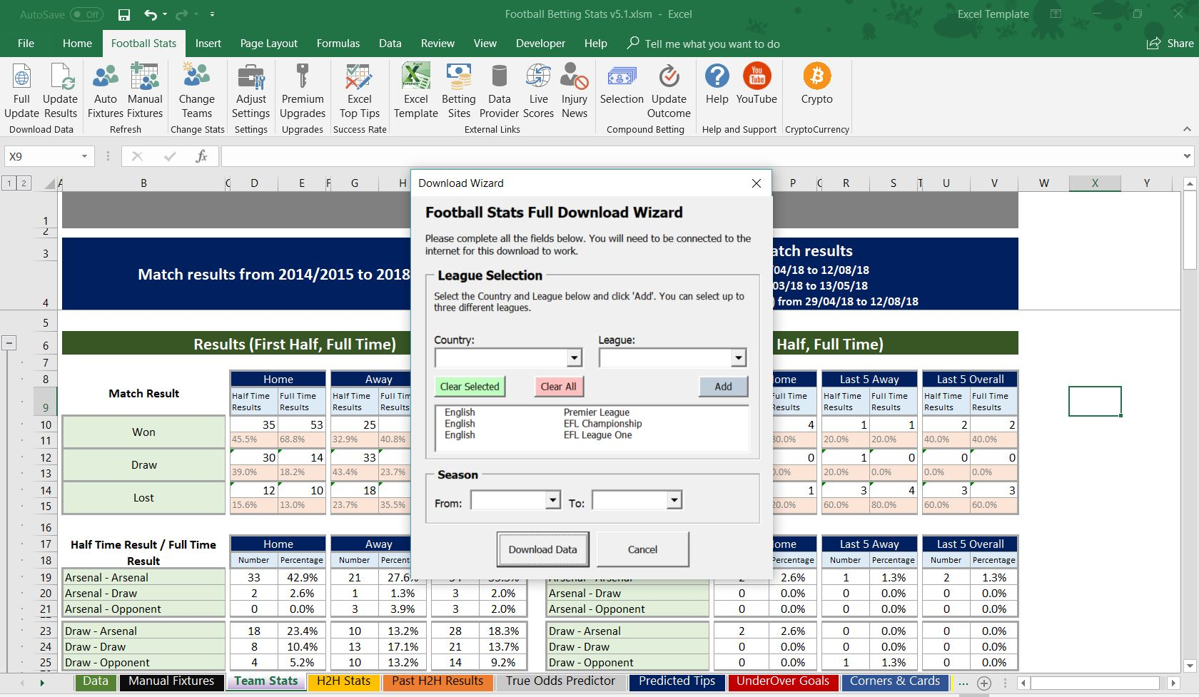 Football Soccer Betting Odd Software Microsoft Excel Spreadsheet Auto Results