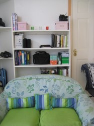 second couch and shelf