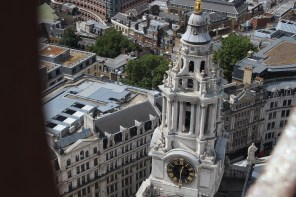 Amazing clock tower seen from on top of St. Paul's