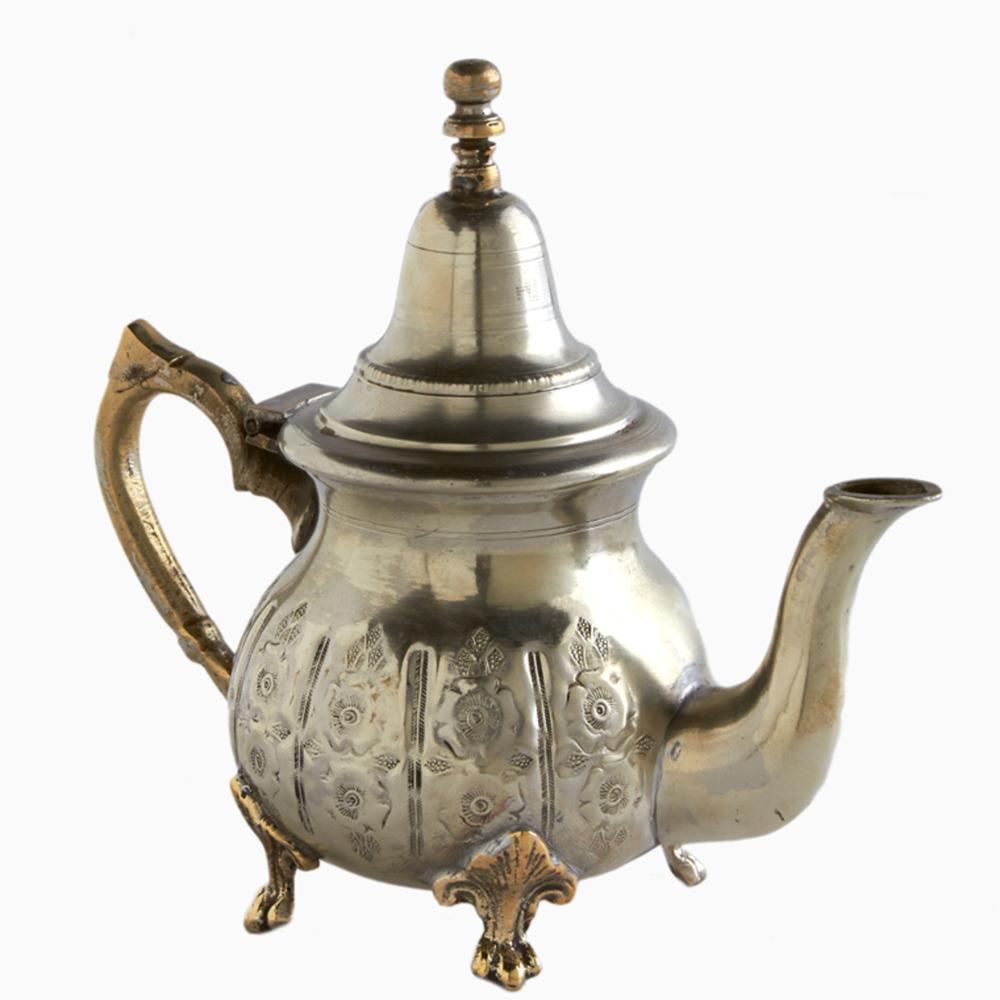 Silver Hollyhock Moroccan Teapot