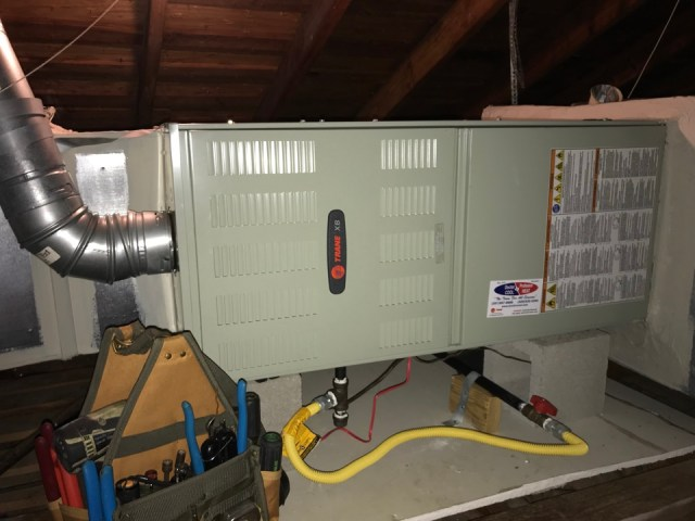 Manvel, TX - Beautiful day in Manvel! Performing heat check on Trane furnace.