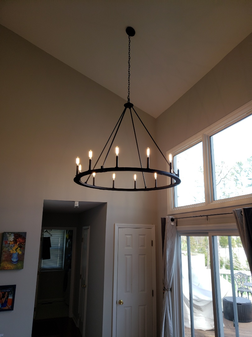 Raleigh, NC - Installing new chandelier