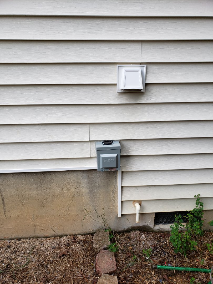 Clayton, NC - Customer has a a R.V. an she needed a 50 amp 220 volt receptacle for it.