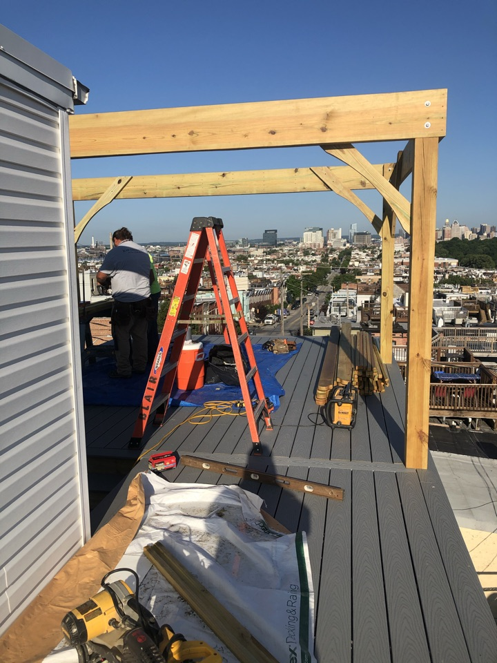 Baltimore, MD - Roof top deck replacement with a pergola