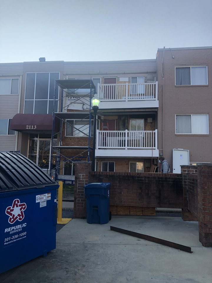 Oxon Hill, MD - Siding repair on exterior wall after replacing the rotten wood in the wall