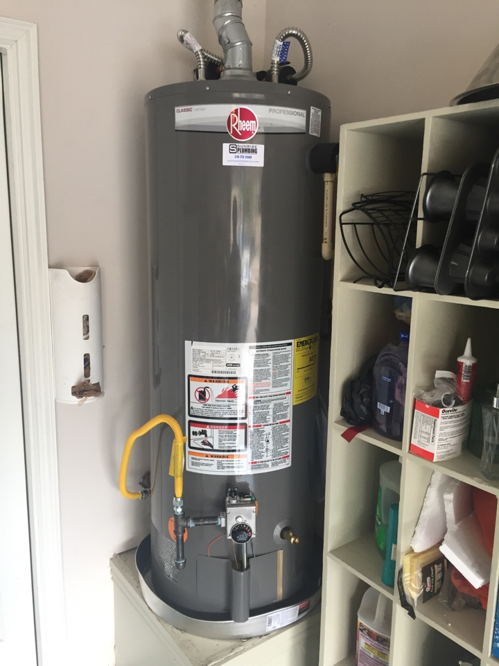 Fairview, TX - Install Rheem, 50 gallon gas water heater in garage