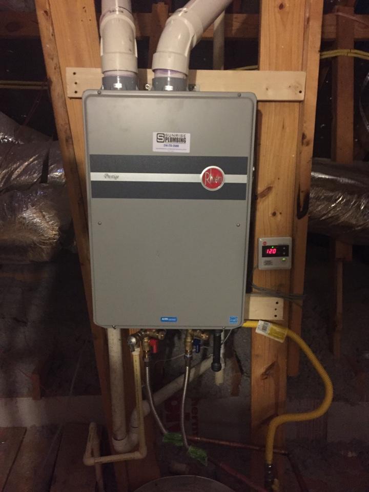 Sachse, TX - Installed a Rheem tankless water heater! #sachseplumbers